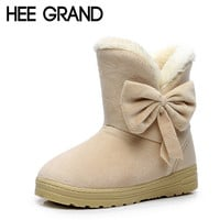 HEE GRAND 2016 Winter Snow Boots Bowtie Women Boot Flock Warm Inside Platform Flat Ankle Boots Casual Flats Shoes Woman XWX1385