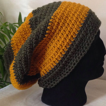 Men's Hunter Green and Gold Beanie | Adult Beanie | Large Beanie | Men's Crochet Hat | Men's Slouchy Beanie | Forest Green |