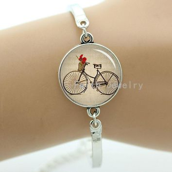 Vintage antique bicycle bike picture bracelet for men and women hipster Accessories romantic Dandelion jewelry gifts T639