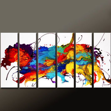 Abstract Canvas Art Painting 6pc 72x36 Contemporary Original Modern Art by Destiny Womack  - dWo - The Dancing Dragon