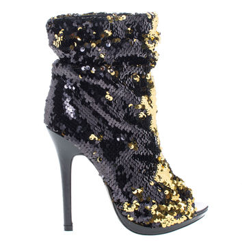 Maxim12 Black by Liliana, Black Multi Color Sequins Peep Toe High Heel Above Ankle Bootie