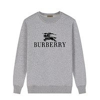 Burberry Casual Wild Horse Print Logo Round Neck Long Sleeve Sweater