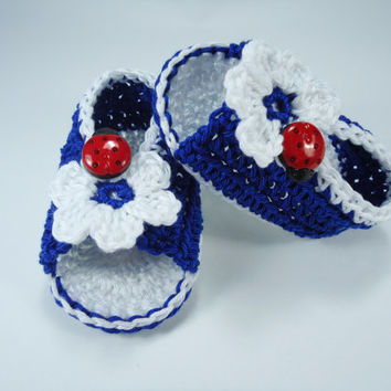 """Crochet Baby sandals, Summer sandals, Custom baby shoes, Fashion baby, Baby accessories with ladybug application - Up to 12 cm (4.7"""")"""