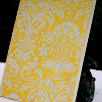 Mini Journal, Handbound Yellow Damask Petite Journal with Artist Paper, Bridesmaids Gifts, Notebook