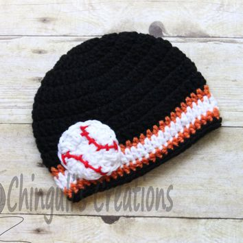 Stripes Black Orange and White Crochet Hat with Baseball Applique