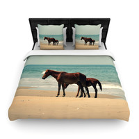 "Robin Dickinson ""Sandy Toes"" Beach Horses Woven Duvet Cover"