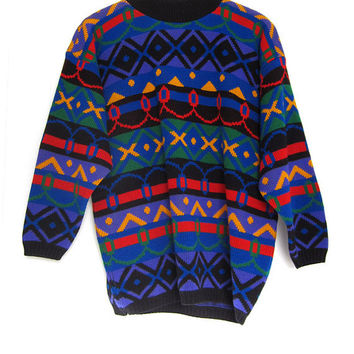 Vintage 90's Cosby Graphic Colorful Geometric Sweater knit women's S M
