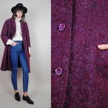 Mohair vtg 60's WOOL plum Boucle coat Tailored duster Minimalist swing jacket • Small / Medium