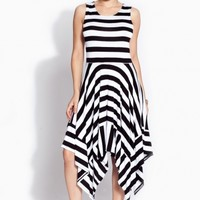 Black and White Striped A line Dress @ Cicihot sexy dresses,sexy dress,prom dress,summer dress,spring dress,prom gowns,teens dresses,sexy party wear,ball dresses
