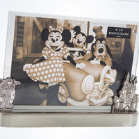 Disney Parks Mickey and Castle Metal 4x6 Photo Picture Frame New