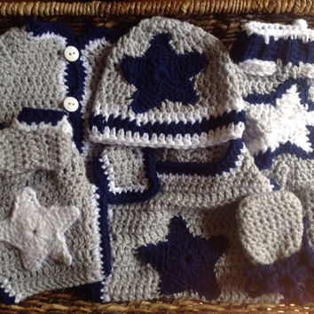 Crochet Dallas Cowboys Newborn Baby Sweater Gift Set