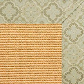 Tan Sisal Rug with Medallions Tapestry Border
