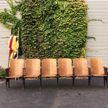 Antique Theater Seats, Set of 6 Church Seats, Folding Wood Seats, Theater Chairs, Entryway Bench