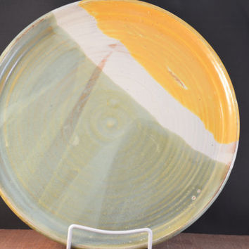 Handmade Ceramic Serving Plate or Platter - Green, White, and Gold