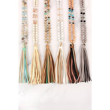 COLORFUL NATURAL STONE AND GLASS BEADS WITH LEATHER TASSEL NECKLACE