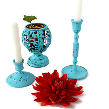 Turquoise Vintage Home Decor Collection of Painted Candlesticks and Amber Glass Candle Holder