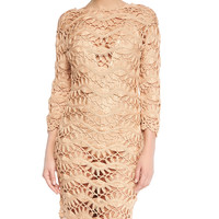 See-Through Metallic Crochet Coverup Dress, Size: