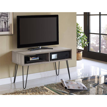 "Super Snazzy Retro TV Stand for TVs up to 42"" wide, Distressed Gray Oak/Gray"