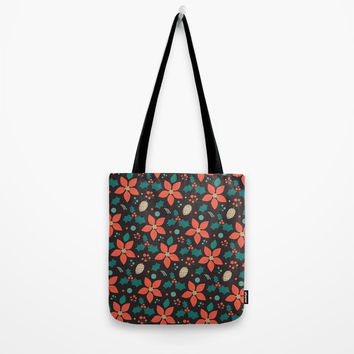Deck the Halls (Black Background) Tote Bag by lalainelim
