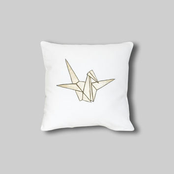 Paper Cran Pillow Cover, handpainted Cushio Cover, Bird Gold Pillow Slip Decor, Paper Crane