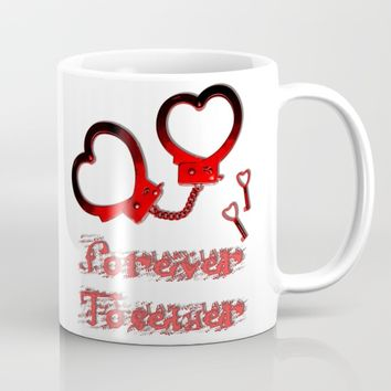 Forever together, in BDSM way, Valentine's day design, red cuffs and keys, fetish lover Mug by Peter Reiss