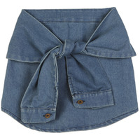 Denim Mini Skirt with Sleeves