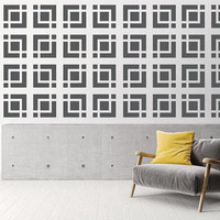 Mid Century Decor, Brick Wall Decals, Mid Century Modern Wall Art, Retro Wall Decal, Geometric Wall Decals, Modern Wall Decal, Breeze Block