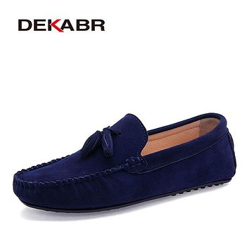 Men Genuine Leather Flats Men Casual Loafers Slip On Unisex Shoes Soft Moccasins Comfy Quality Driving Shoes