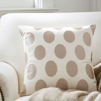 SATIN EMBROIDERED DOT PILLOW COVER