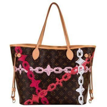 VLX9RV Limited Edition Louis Vuitton Logo 'Never-full' Bag with Natural Leather Trim
