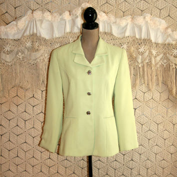 80s Light Green Suit Jacket Spring Jacket Blazer Jacket Spring Clothing Pistachio Pale Green Fashion Jacket Small Medium Womens Clothing