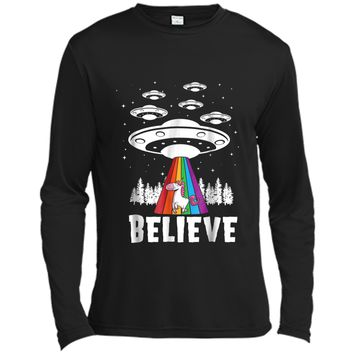 Alien Unicorn Rainbow Abduction  Funny Gift Long Sleeve Moisture Absorbing Shirt