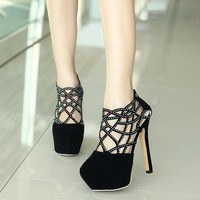 Luxurious Diamond Hollow Out High-Heeled Club Sandals