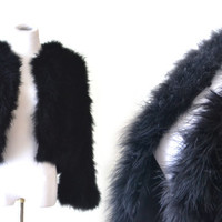 1970s Black Marabou Jacket Natural Feathers Cropped