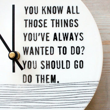 ceramic porcelain clock 8.25 screen printed text. IN STOCK
