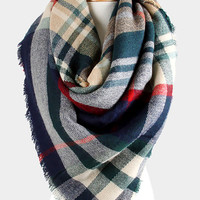 Green/Navy Accent Tartan Plaid Oversized Blanket Scarf