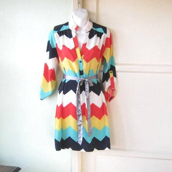 Red/White/Yellow/Aqua Blue Chevron Print Tunic/House Dress/Shirtwaist; Women's Medium High Collar '80s Vintage Dress