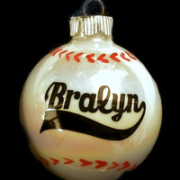 Personalized Baseball Christmas ornaments  Hand painted sticthing and Vinyl Lettering!
