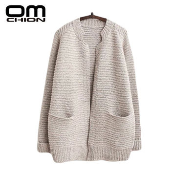 OMCHION Autumn Winter Knitted Cardigan Women Sweater Casual Loose Pockets Cashmere Korean Striped Sweaters Coat Pull Femme WKS13