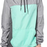 Zine Sinclair Mint & Grey Colorblock Pullover Windbreaker Jacket
