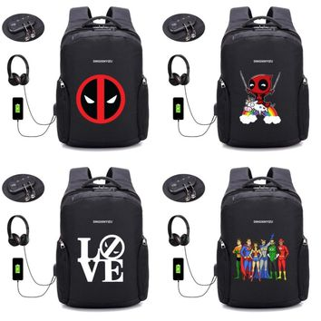 Marvel Deadpool backpack Anti-theft Backpacks USB Charge Laptop Women Backpack Men Waterproof Male Travel backpack 32 style