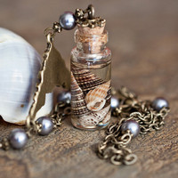 Undines' Elixir Necklace - Antiqued Brass with Gray Swarovski Glass Pearls