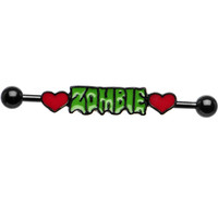 Zombie Love Double Heart Industrial Barbell | Body Candy Body Jewelry