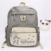 Studio Ghibli My Neighbor Totoro Canvas Backpack Children bags school backpacks (Size: 2)