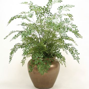 Maiden Hair Fern Floor Plant In Large Rustic Bronze Stone Water Jar