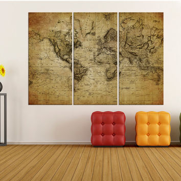 Large canvas art rustic world map wall print, world map wall art canvas, Modern wall decoration, old world map art wall home decor No:8S35