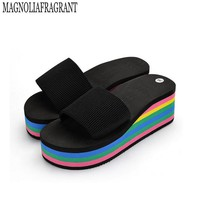 rainbow wedge sandals