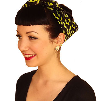 Green Bat Fabric Head Wrap Scarf