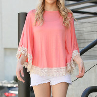 Coral Lightweight Poncho With Lace Trim