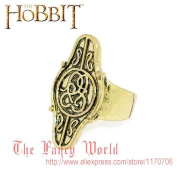 Hobbit jewelry elf lord Elrond Golden Ring LOTR Lord of Rings fashion men jewelry hot sale
